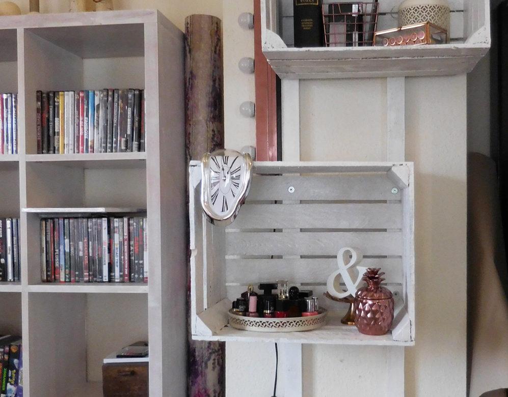 wohnlust diy wandregal aus obstkisten. Black Bedroom Furniture Sets. Home Design Ideas